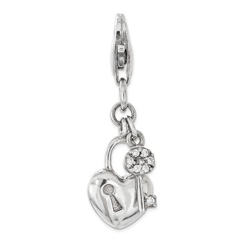 Sterling Silver w/ CZ Lock and Key Heart Lobster Clasp Charm