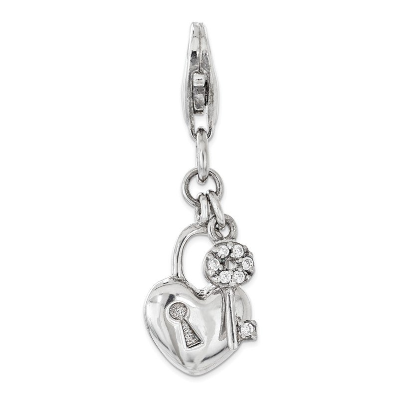 Quality Gold Sterling Silver w/ CZ Lock and Key Heart Lobster Clasp Charm
