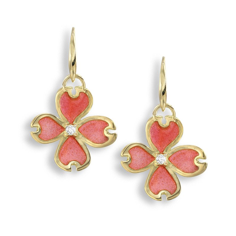 Nicole Barr Designs Pink Dogwood Wire Earrings.18K -Diamonds - Plique-a-Jour