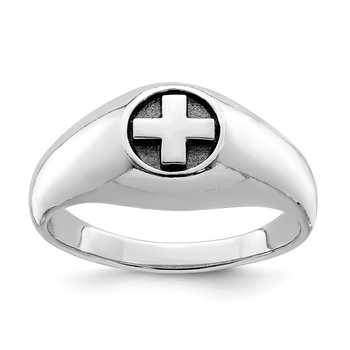 Sterling Silver Rhodium-plated & Antiqued Cross Ring