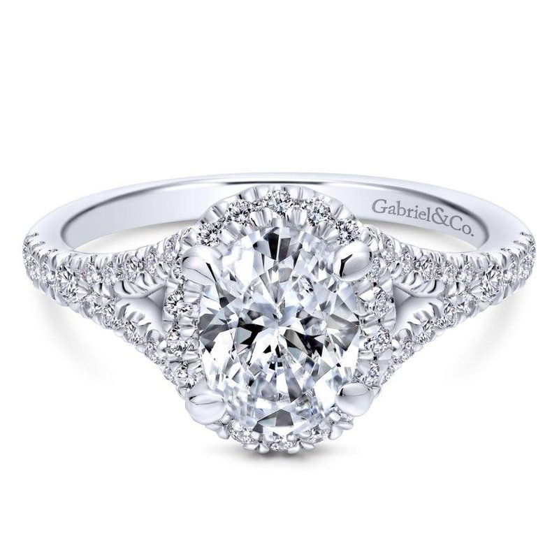 Gabriel Bridal Top Picks 14K White Gold Oval Halo Diamond Engagement Ring