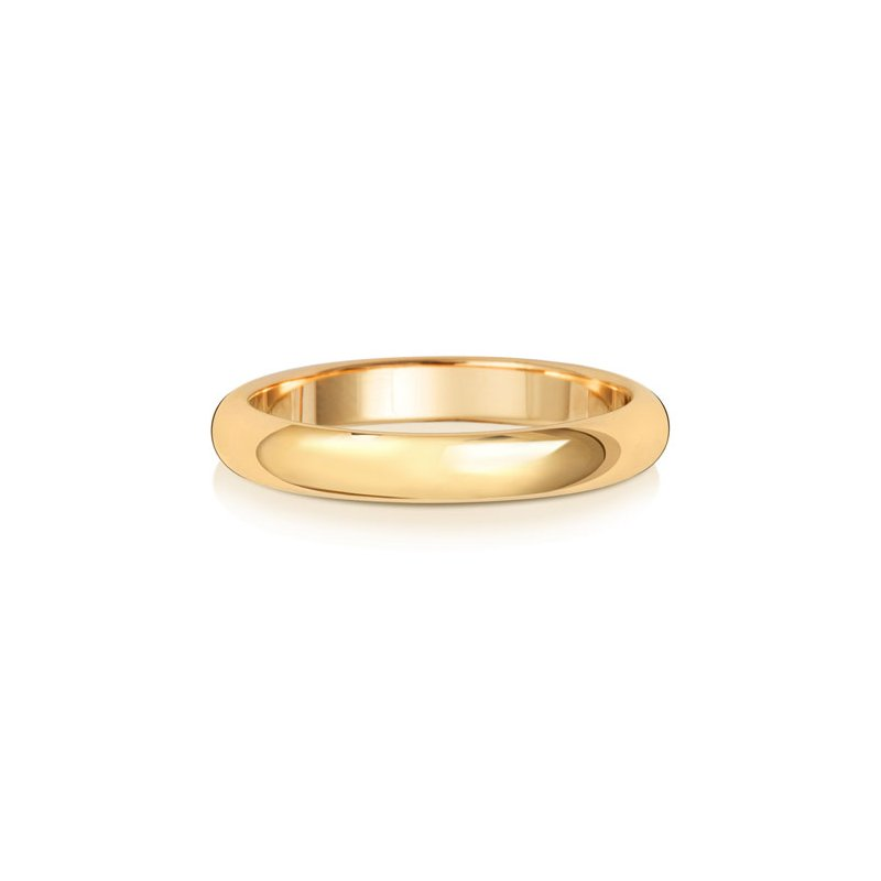 Treasure 18Ct Yellow Gold 3mm D Shape Wedding Ring