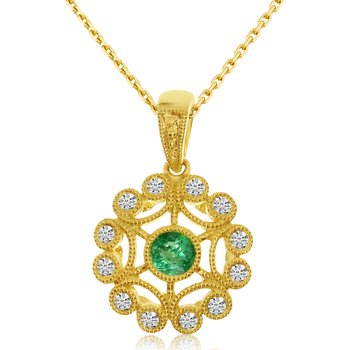 14k Yellow Gold Filigree Emerald Diamond Pendant