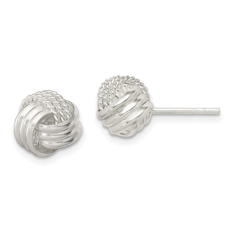 Quality Gold Sterling Silver Polished and Textured Knot Post Earrings