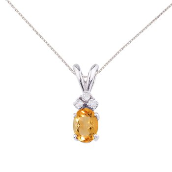 14K White Gold Oval Citrine and Diamond