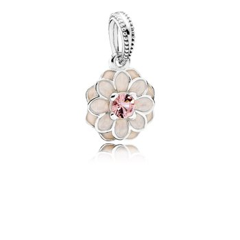 Blooming Dahlia, Cream Enamel & Blush Pink Crystal
