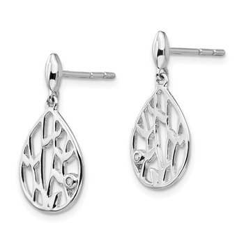 SS White Ice Diamond Leaf Post Dangle Earrings