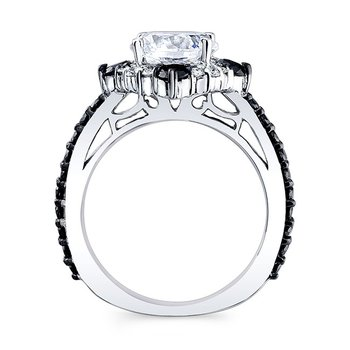 Black Diamond Halo Bridal Set