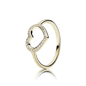 Captured Heart Ring, 14K Gold Clear Cz