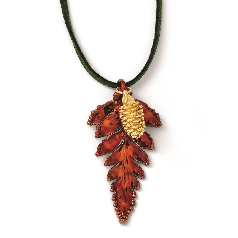 Quality Gold Iridescent Copper Fern Leaf and 24k Gold Dipped Pine Cone 20in Necklace