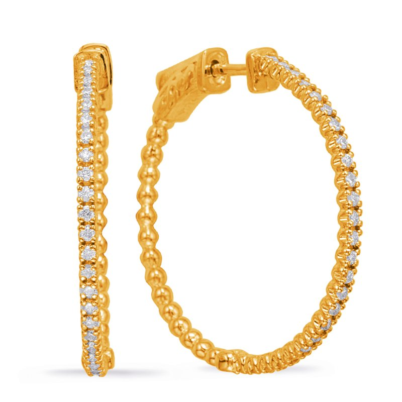 S. Kashi  & Sons Yellow Gold 1 Inch Securehinge Hoop
