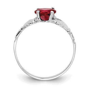 14k White Gold January CZ Birthstone Claddagh Ring