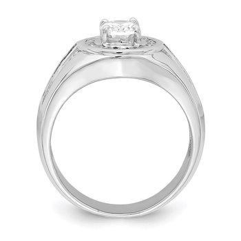 Sterling Silver Rhodium-plated Oval CZ & Baguettes Halo Ring