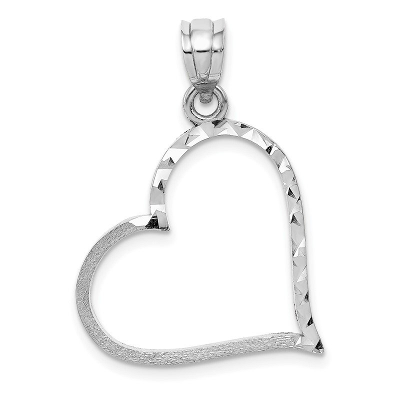 14k White Gold Solid Satin Diamond-cut Reversible Heart Pendant
