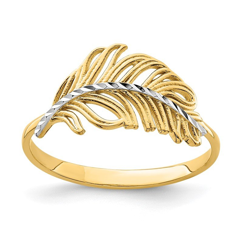 Quality Gold 14K with White Rhodium Feather Ring