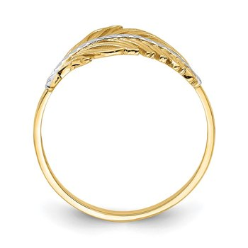 14K with White Rhodium Feather Ring
