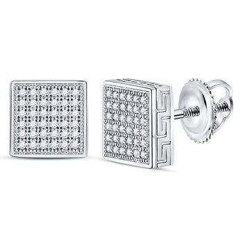 10kt White Gold Mens Round Diamond Square Cluster Stud Earrings 1/5 Cttw