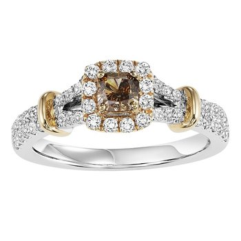 14K Diamond Engagement Ring 5/8 ctw with 1/4 Brown Diamond Center