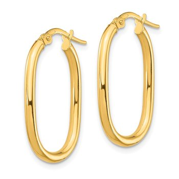 14K Small 2mm Oval Hoop Earrings