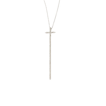 18Kt Gold Elongated Diamond Cross Pendant