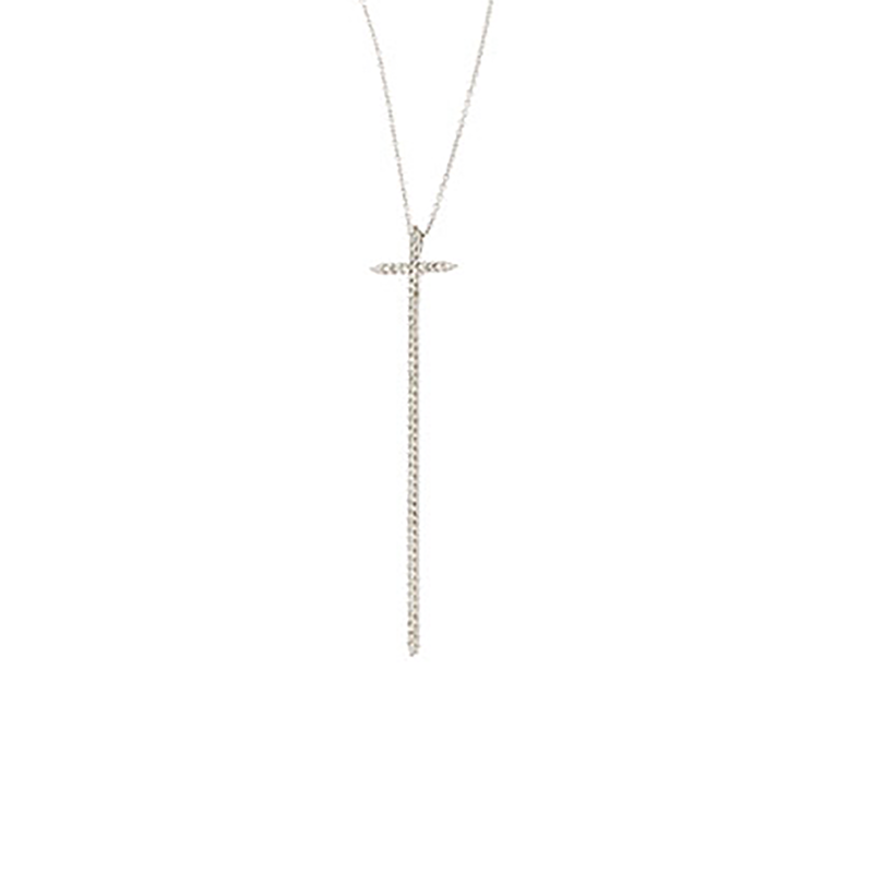 Roberto Coin 18Kt Gold Elongated Diamond Cross Pendant