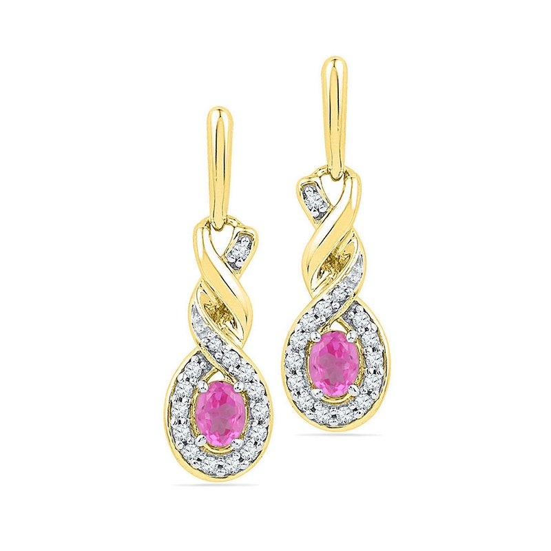 Gold-N-Diamonds 10kt Yellow Gold Womens Oval Lab-Created Pink Sapphire Twist Dangle Earrings 5/8 Cttw