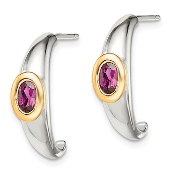 Sterling Silver w/ 14K Accent Rhodolite Garnet J-Hoop Earrings