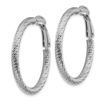10k 3x25 White Gold Diamond-cut Round Omega Back Hoop Earrings