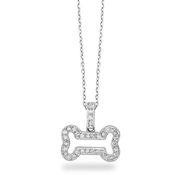 Diamond Large Bone Necklace in 14k White Gold with 34 Diamonds weighing .20ct tw.