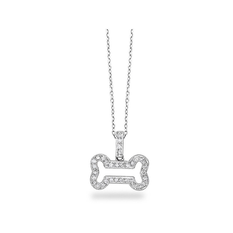 KC Designs Diamond Large Bone Necklace in 14k White Gold with 34 Diamonds weighing .20ct tw.