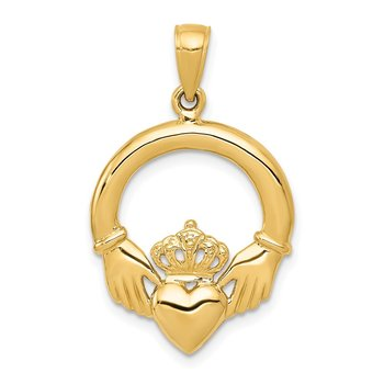14k Polished Claddagh Pendant