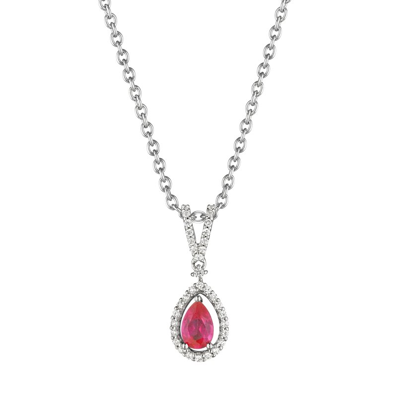 Fana Pear Shape Ruby and Diamond Pendant