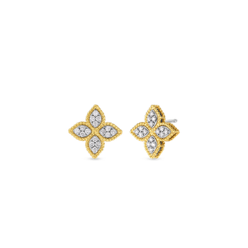 18Kt Gold Medium Stud Earrings With Diamonds