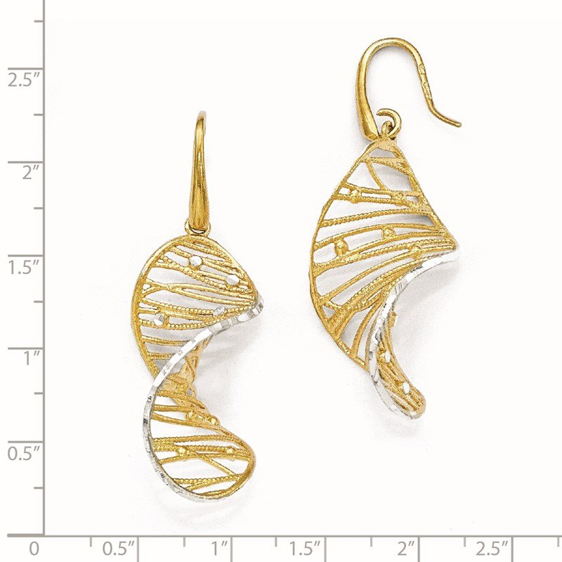 Leslie's Leslie's' Sterling Silver Gold-toned Textured Spiral Earrings