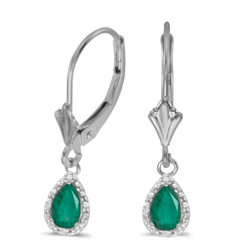 Color Merchants 10k White Gold Pear Emerald And Diamond Leverback Earrings