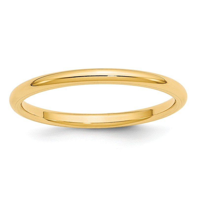 Quality Gold 14KY 2mm Standard Comfort Fit Band Size 10