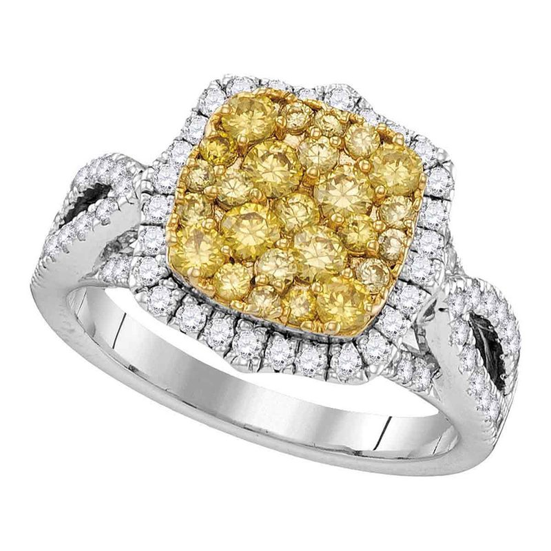 Gold-N-Diamonds, Inc. (Atlanta) 14kt White Gold Womens Round Canary Yellow Diamond Cluster Twist Ring 1-3/4 Cttw