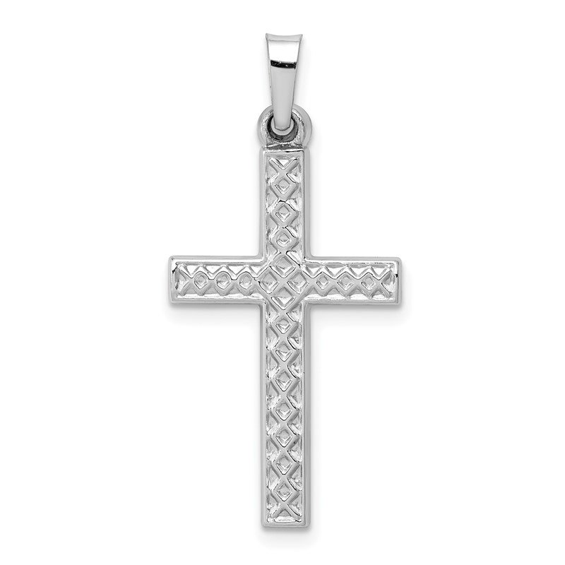 Quality Gold 14k White Gold Polished Lattice Cross Pendant
