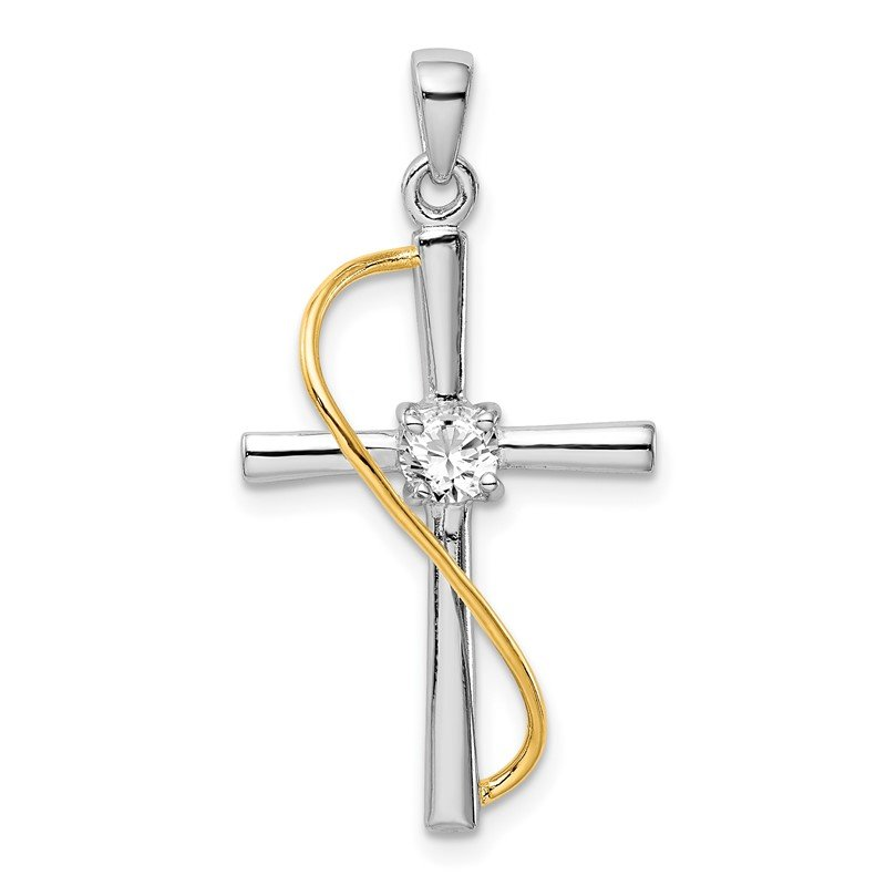 Quality Gold Sterling Silver Rhodium & Gold-tone Polished w/CZ Cross Pendant
