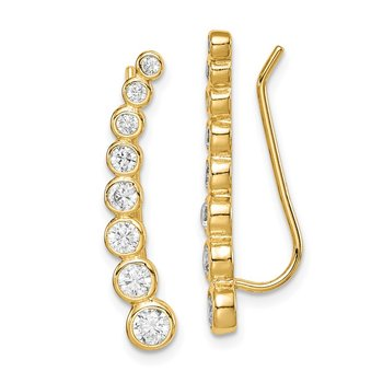 Sterling Silver Gold-tone CZ Ear Climber Earrings