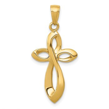 14K Polished w/Satin Figure 8 Cross Pendant
