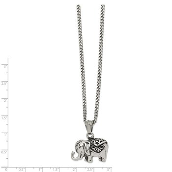 Stainless Steel Antiqued and Polished Elephant 20in Necklace
