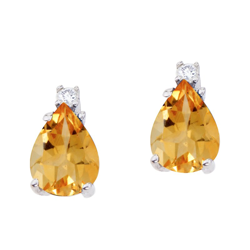 Color Merchants 14k White Gold Pear Shaped Citrine and Diamond Earrings