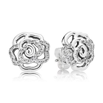 Shimmering Rose Stud Earrings, Clear CZ