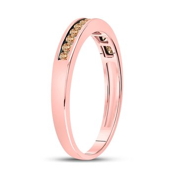 10kt Rose Gold Womens Round Brown Color Enhanced Diamond Band Ring 1/4 Cttw