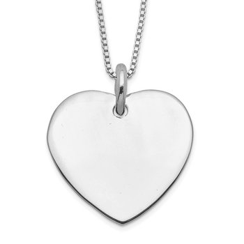 Sterling Silver Engraveable Heart on Box Chain 18 inch Necklace