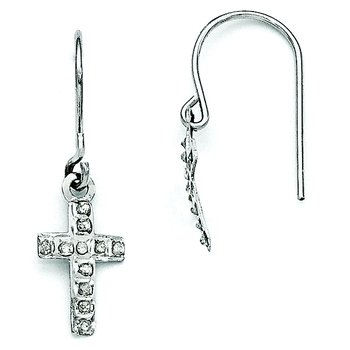 14k White Gold Diamond Fascination Cross Earrings