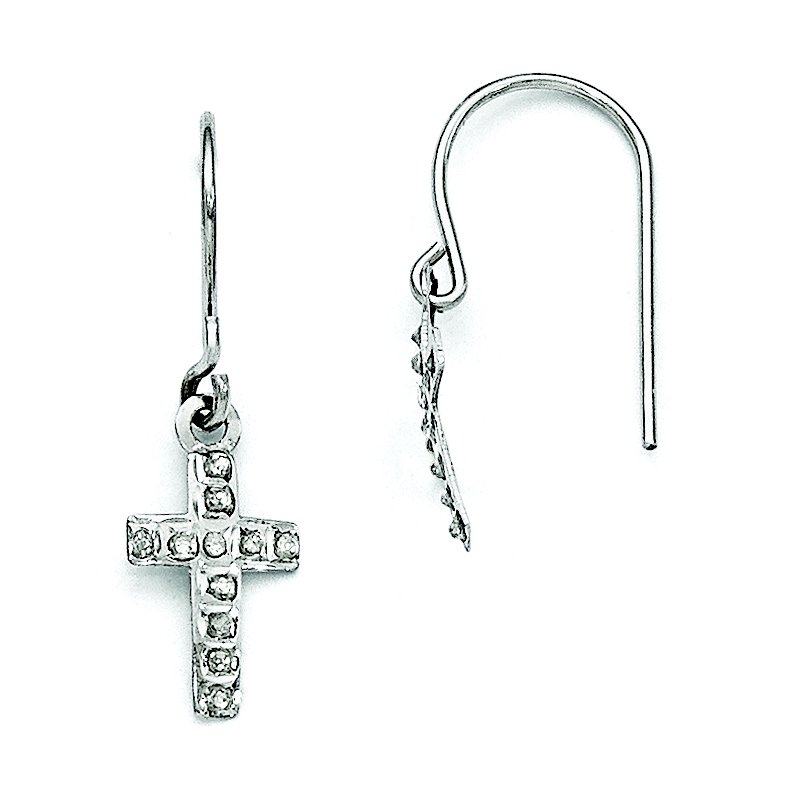 Quality Gold 14k White Gold Diamond Fascination Cross Earrings