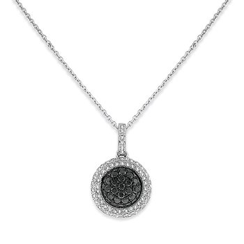 Black And White Diamond Small Circle Necklace in 14k White Gold with 96 Diamonds weighing .58ct tw.