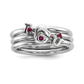 Sterling Silver Rhodium-plated Set of 3 Ruby Stacking ILOVEU Rings